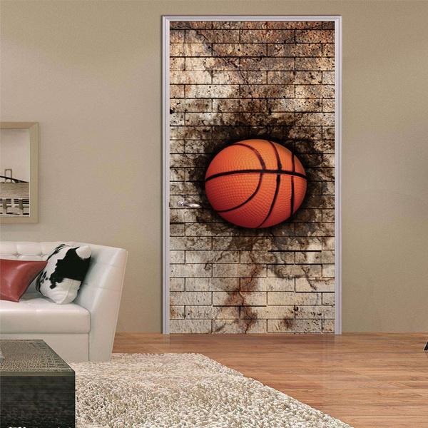Cartoon Lifelike Broken Wall Basketball Door Stickers Wallpaper Wall Mural Art Boys Favor Kids Children Boy Room Door Decor