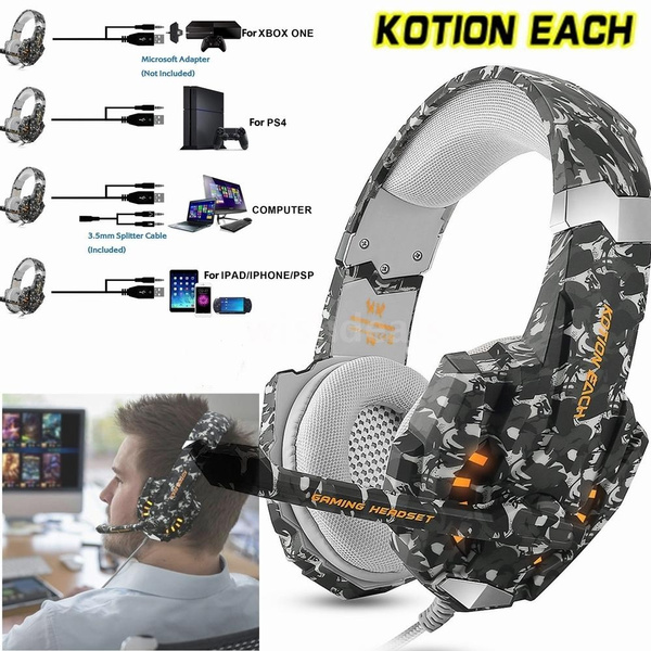 KOTION EACH G9600 Stereo Gaming Headset Over-Ear Wired Headphones for  Laptop Mac PC PS4 Xbox One Nintendo Switch with Mic LED Lights 3 5mm Jack  Mic