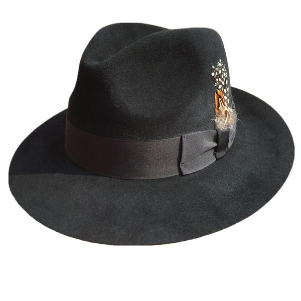 Luxury Angora Rabbit Grey Black Fedora Hat Gangster Michael Gentleman Hats