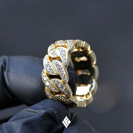Solid 14k Yellow Gold Baby Cuban Link Ring Fully Iced Out With