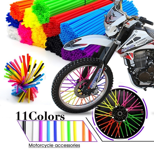 96565679b82b3 36/72PCS Universal Motorcycle Dirt Bike Wheel Rim Spoke Skins Covers Wrap  Tubes Decor Protector Kit FOR KTM EXC Yamaha Honda Pit Bike