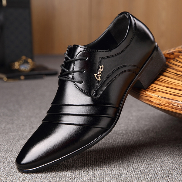 Mens Fashion Breathable Leather Shoes Business Casual Shoes British Style Lace Up Pointed Toe Shoes Male Solid Color Classic Wedding Dress Shoes