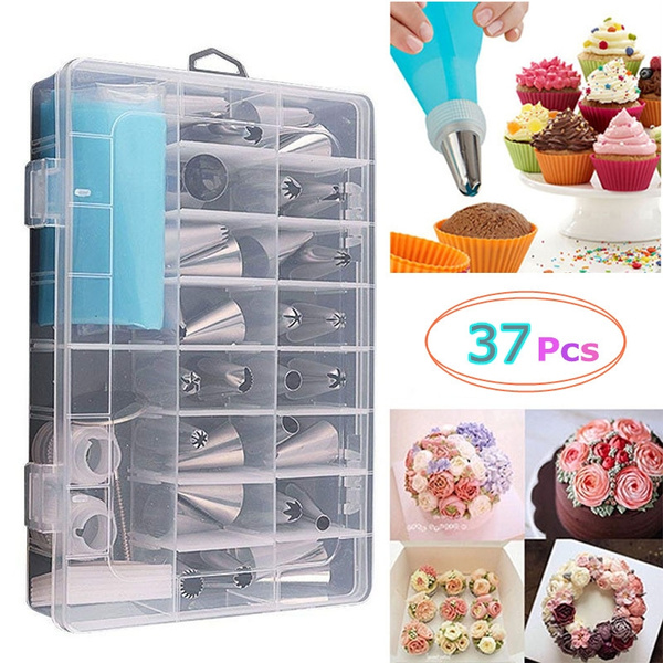 37 Pcs Set Cream Pastry Bag Cake Decoration Icing Piping Nozzles Set Stainless Steel Tube Mold Silicone Baking Tools
