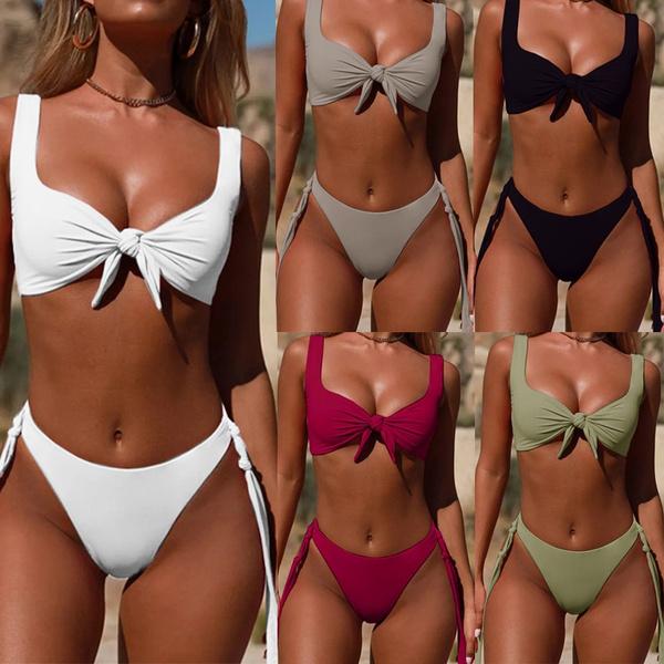2019 Women Two Piece Bikini Sets Solid Color Women Swimwear Push Up Bikinis (S 3 Xl) by Wish