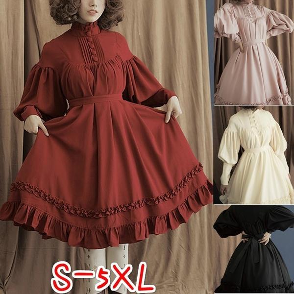 5 Colors Fashion Women Lantern Sleeve High Collar Lolita Dress Classic Lady  Summer Pleated Prom Party Dresses Princess Dress Plus Size S-5XL