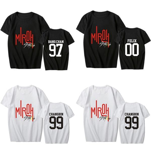 New KPOP StrayKids T-shirt Album MIROH Letter Tee Shirt Casual T-shirt Tops