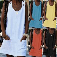 Sleeveless dress, Plus Size, Necks, Mini