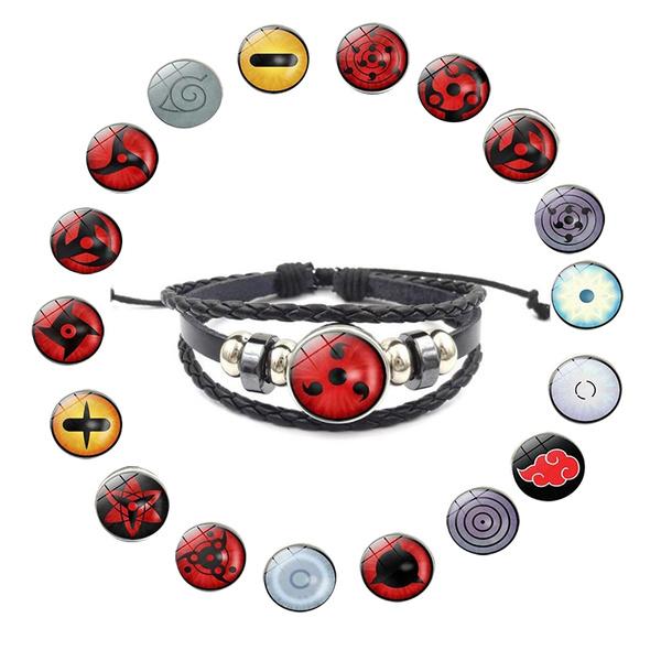Itachi Sasuke Kakashi Cosplay Rinnegan Eyes Naruto Bracelet Uchiha Clan Sharingan Eye Anime Naruto Braided Leather Bracelet