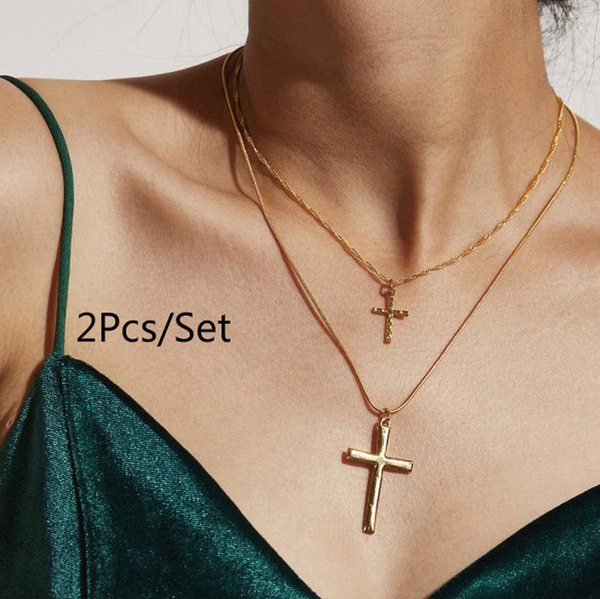 2pcs Set Vintage Cross Chain Necklace Fashion Necklace Set Gold Cross Pendant Necklace Jesus Christian Jewelry Gifts Women S Clavicle Chain Necklace Color Gold Wish