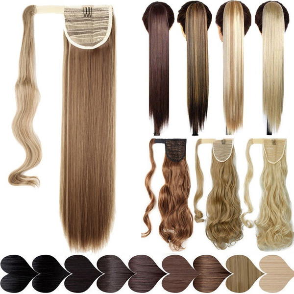 0b578e21df2 17''23'' Long Silky Straight Ponytails Clip In Synthetic Pony Tail ...