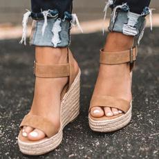 Women's Fashion, wedge, High Heel Shoe, Buckles