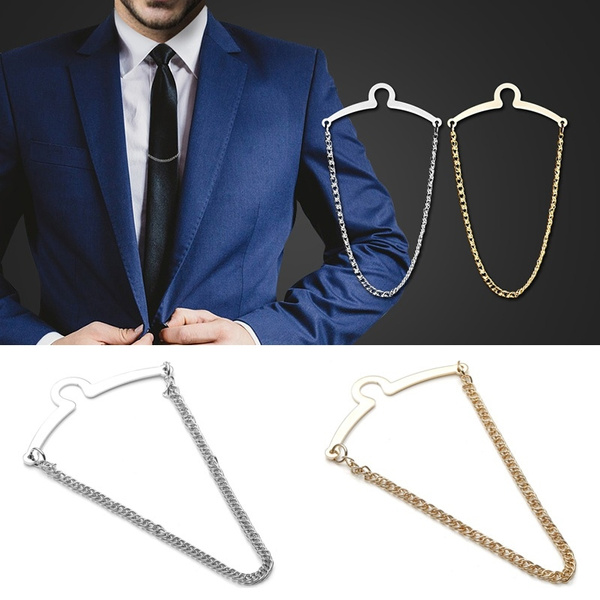Men Metal Necktie Tie Clip Link Chain Cravat Clip Collar Bar Pin Brooch Gift