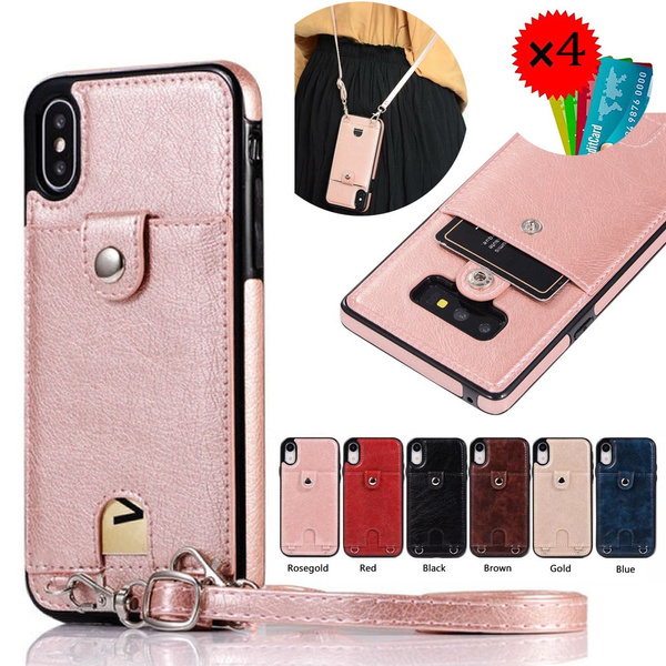 2a8ca24c2aec Fashion Wallet Case for iPhone XS Max Leather Wallet Case With Wrist  Crossbody Strap Credit Card Holder Slot Cover For iPhone ...