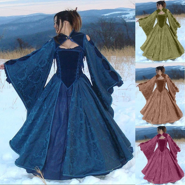 Vintage Medieval Dress for Women Speaker Sleeve Slim Renaissance Costume  Hollow Out Ball Gowns Floor Length Queen Dresses Plus Size S-5XL