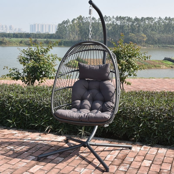 Marvelous Detachable Wicker Rib Hanging Egg Chair Indoor Outdoor Nordic Patio Swing Hanging Basket Chair With Cushion Caraccident5 Cool Chair Designs And Ideas Caraccident5Info