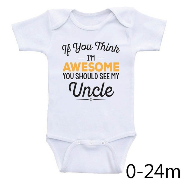 I Smile Because Youre My Uncle Funny Baby Infants Babygrow Romper Jumpsuit