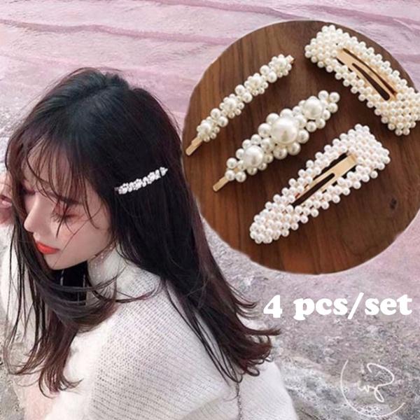Girl Fashion Korean Pearl Hair Clip Snap Barrette Stick Hairpin Hair Headdress