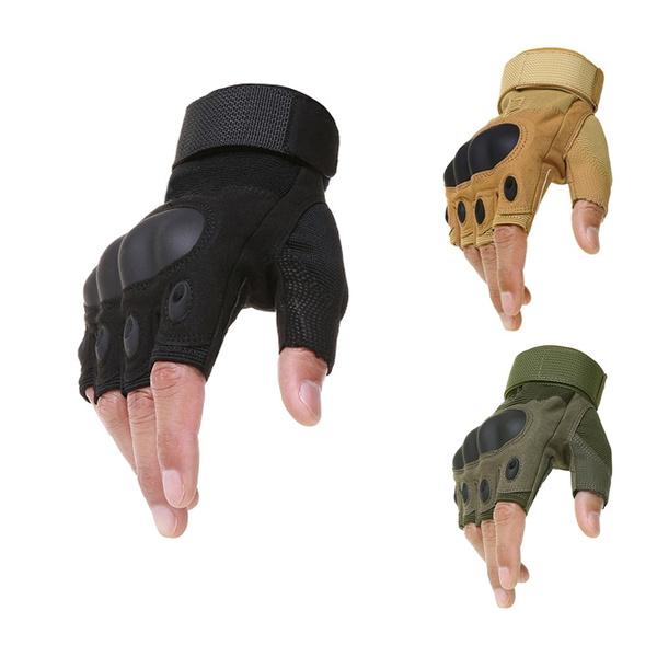 Men Fingerless Tactical Work Gloves Athletic Half Finger Military Army Climbing