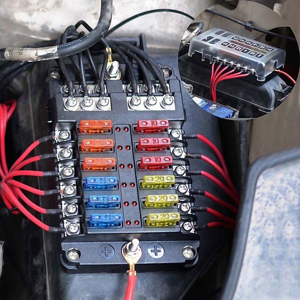 [ZSVE_7041]  6/12 Ways Fuse Box 12V/24V Bus Bar Car Marine Fuse Box Holder with LED  Indicator | Wish | Led Marine Fuse Box |  | Wish
