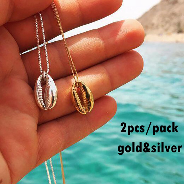 2pcs Pack Vintage Fashion Gold Silver Color Conch Shell Necklace