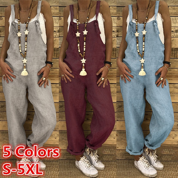 Women Rompers, pants, Vintage, solidcolorjumpsuit