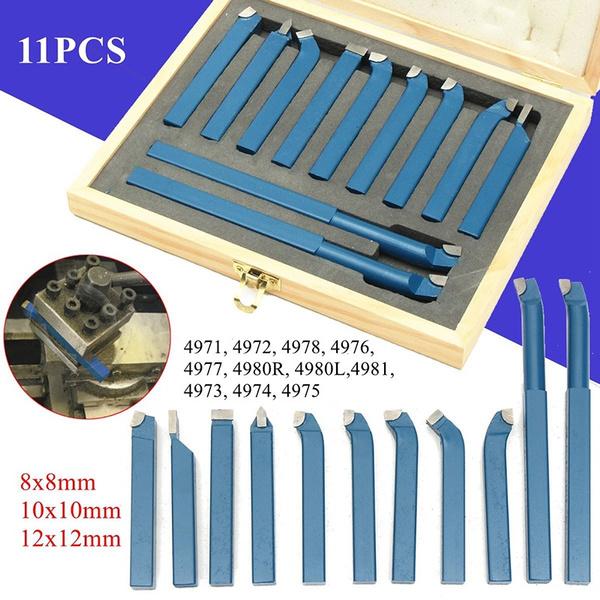 11pcs Carbide Tipped Tip Metal Lathe Turning Cutting Tool Set Cutter Bit 8x8mm