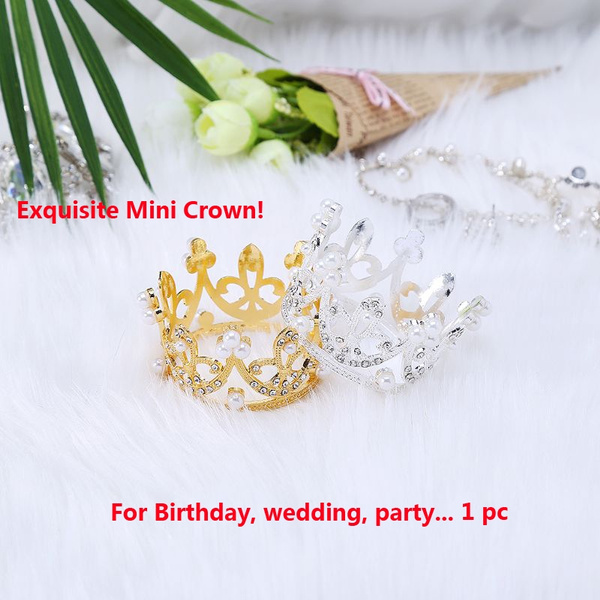 Mini Crown Cake Topper Metal Pearl Birthday Cake Toppers Wedding/&Engagement 1pc