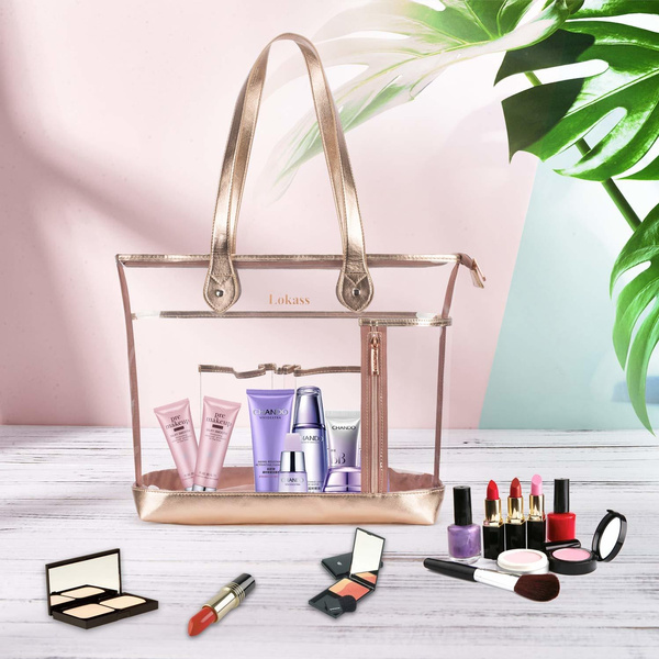 Lokass Large Clear Tote Bag Transpa Shoulder See Through Beach With Small Makeup For Women S School Work