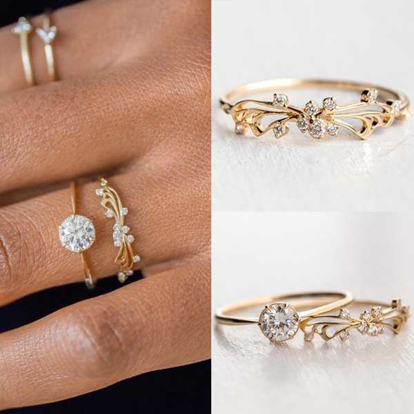 Exquisite 2pcs Set Women S Simple Diamond Stackable Ring Sets Solid 925 Sterling Silver In 14k Gold Filled Flower Engagement Rings Set Wedding Bands Bridal Jewelry Wish