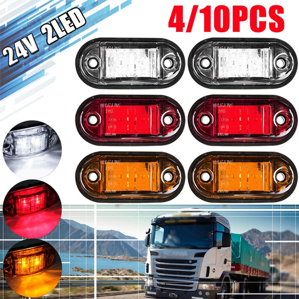 10 Pcs 12V LED Side Marker Indicator Light Truck Trailer Clearence Bright White