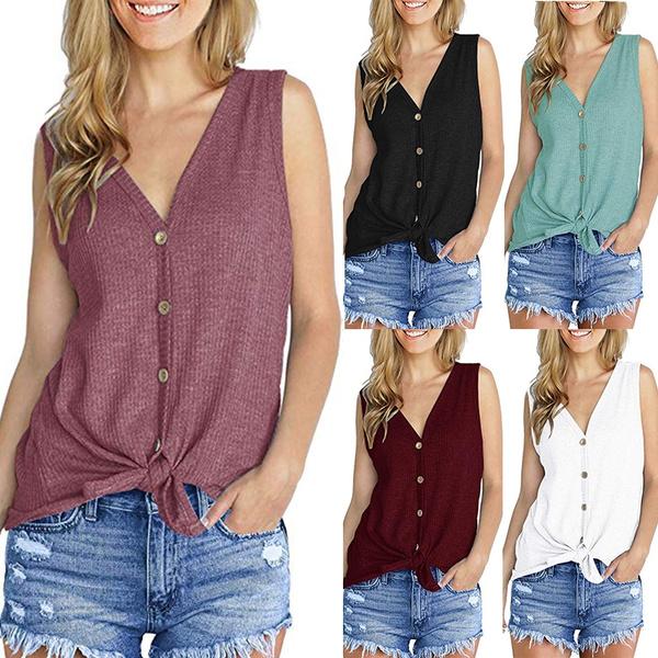 Ladies Vest Top Blouse T Shirt Women/'s Cotton Summer Beach Fashion New