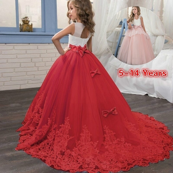 ball gown red dress for kids
