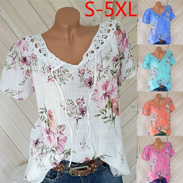Summer, Plus Size, Lace, short sleeves