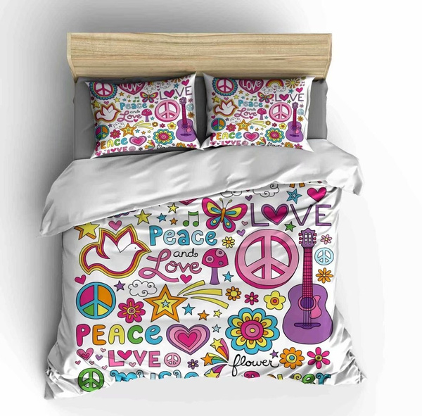 Kids Peace Sign Bedding Sets Twin Size,3 Piece Colorful Flowers Love Pink  Butterfly Soft Duvet Cover Sets with 2 Pillowcases for Teens Boys Girls ...