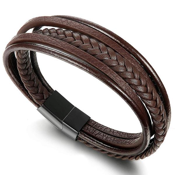 Steel, leatherbraidedbracelet, Men, Jewelry