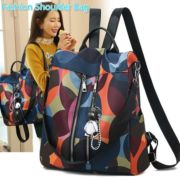 Women/'s Multicolor Backpack Bear Pendant Cute Girls Pack Oxford Cloth Fashion