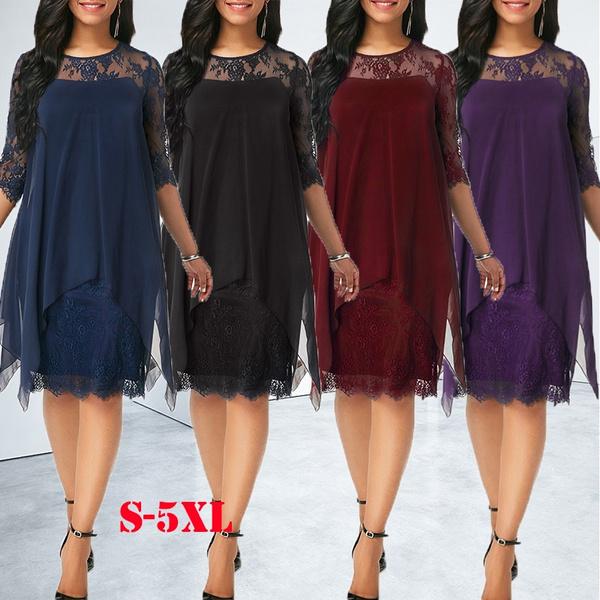 Summer Fashion Women Chiffon Overlay Three Quarter Sleeve Lace Dress Plus Size S 5xl