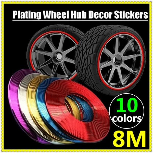 Car Wheel Rim Protector Sticker 8M//Roll Anti-Collision Strip Hub Trim Tire Decor
