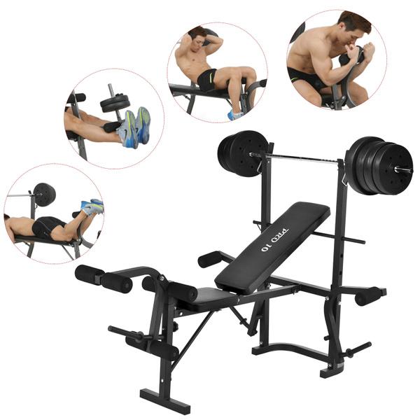 Amazing Adjustable Weight Bench Rack Set Gym Fitness Exercise Body Workout Lifting Flat Inzonedesignstudio Interior Chair Design Inzonedesignstudiocom