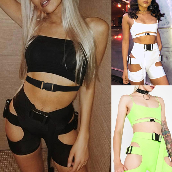 camisbuckle, Two-Piece Suits, high waist shorts, securebucklefastening