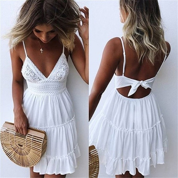 Fashion Women Summer Dresses V Neck Backless Lace Dress Beach Dresses White  Dress Plus Size S-5XL