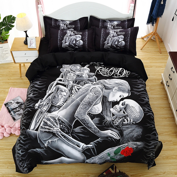King, 3pcsbeddingset, Home Decor, skull