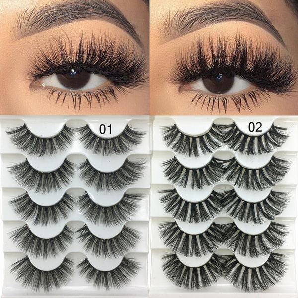 8187c47ce90 SKONHED 5 Pairs Woman Handmade Wispy Flared Natural 3D Faux Mink ...