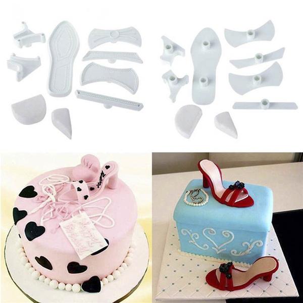 9pcs//set High-Heeled Shoes Fondant Cake Mould Sugarcraft Baking Cutter Mold New