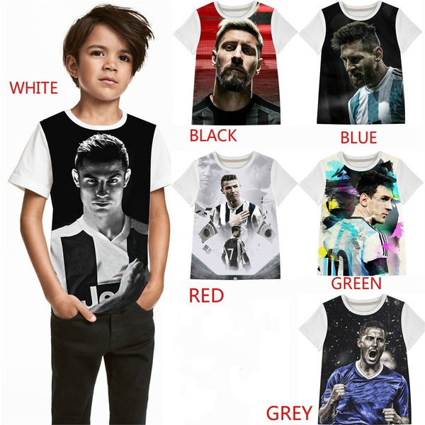 on sale a1e1d f6ad3 3T-14T Kids Tee Boy Football Messi Ronaldo Hazard T-Shirts Children Boys  Fashions 2019 Kid boys &girls Tops Tees Child Clothing