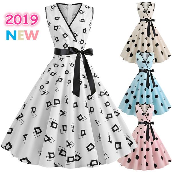 1b3c5c0c190d5 Rockabilly Dress Retro Women Summer V-neck Sleeveless Polka Dot Dress 60s  50s Vintage Swing Dress S-2XL Robe Femme Vestito Donna Vestidos