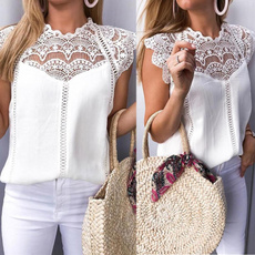 Plus size top, Lace, chiffon, slim