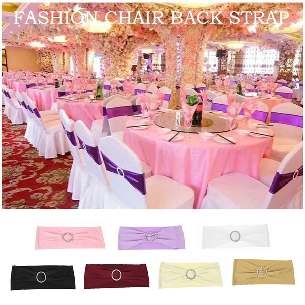 Peachy Wedding Decorations Elastic Spandex Chair Cover Sashes Bows Elastic Chair Bands With Buckle Slider Sashes Bows 7 Colors Gmtry Best Dining Table And Chair Ideas Images Gmtryco
