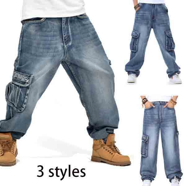 c40aa50d890854 Plus Size Mens Jeans Relaxed Fit Cargo Pants Big & Tall Loose ...