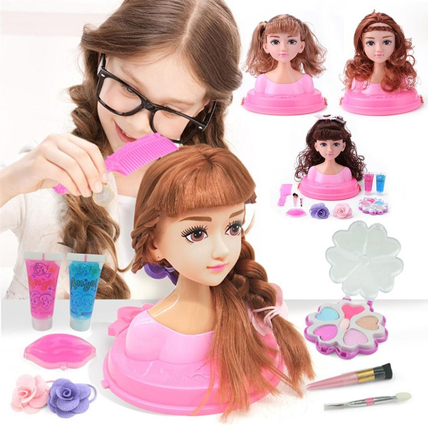 Superb 17X18Cm Half Body Makeup Hairstyle Doll Cosmetics Head Kid Pretend Natural Hairstyles Runnerswayorg
